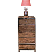 Luxe Kensington Reclaimed Wood 5 Drawer Chest of Drawers with Lamp