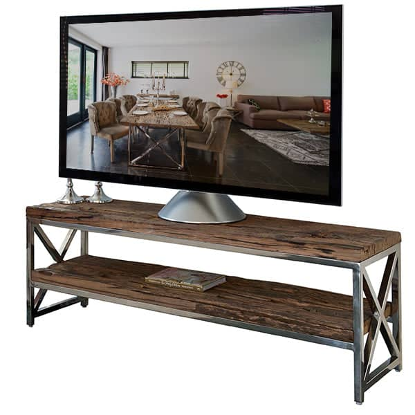 Luxe Kensington Reclaimed Wood TV Unit Cutout with TV