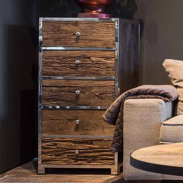 Luxe Kensington Reclaimed Wood Industrial Nest Of Round: Luxe Kensington Reclaimed Wood 5 Drawer Chest Of Drawers