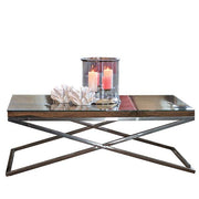 Luxe Kensington Reclaimed Wood Coffee Table with Glass top Cutout