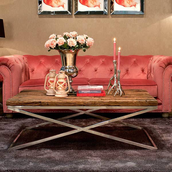 Luxe Kensington Reclaimed Wood Coffee Table with Sofa