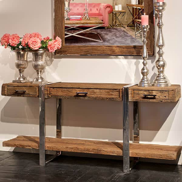 Luxe Kensington Reclaimed Wood Console Table with Drawers