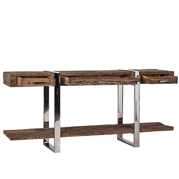 Luxe Kensington Reclaimed Wood Console Table with Drawers Open