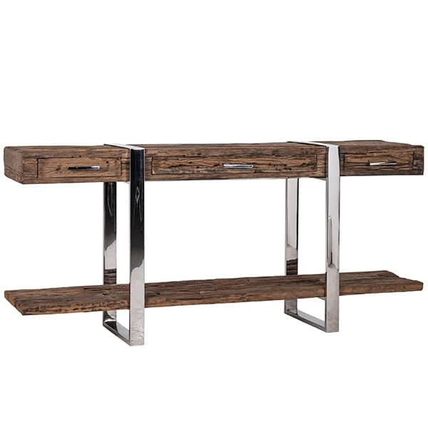 Luxe Kensington Reclaimed Wood Console Table with Drawers Closed