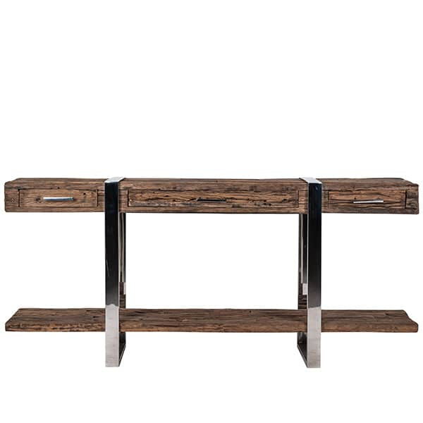 Luxe Kensington Reclaimed Wood Industrial Nest Of Round: Luxe Kensington Reclaimed Wood Console Table With Drawers