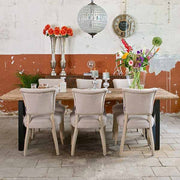 Luxe Kensington Industrial Reclaimed Wood Dining Table and Roxy Chairs