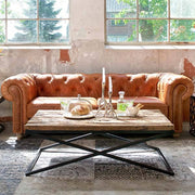 Luxe Kensington Reclaimed Wood Industrial Coffee Table in Living Room