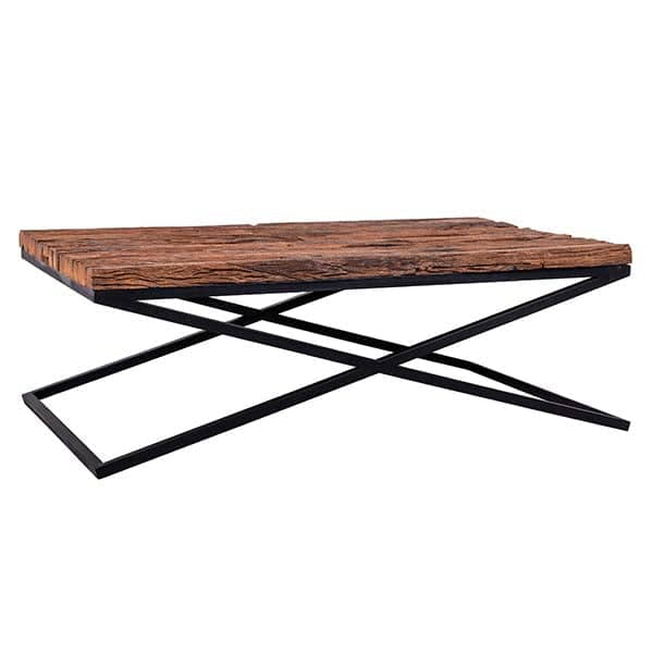 Luxe Kensington Reclaimed Wood Industrial Coffee Table cut out
