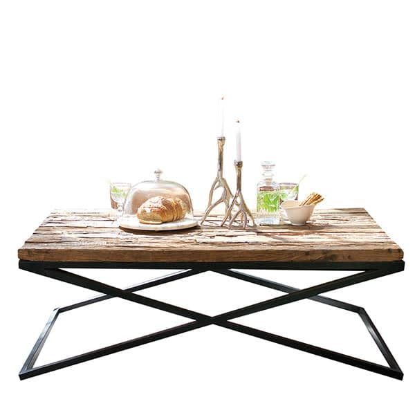 Luxe Kensington Reclaimed Wood Industrial Coffee Table Cutout Lifestyle