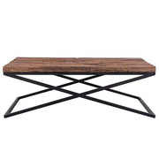 Luxe Kensington Reclaimed Wood Industrial Coffee Table front
