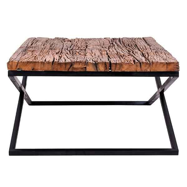 Luxe Kensington Reclaimed Wood Industrial Coffee Table side