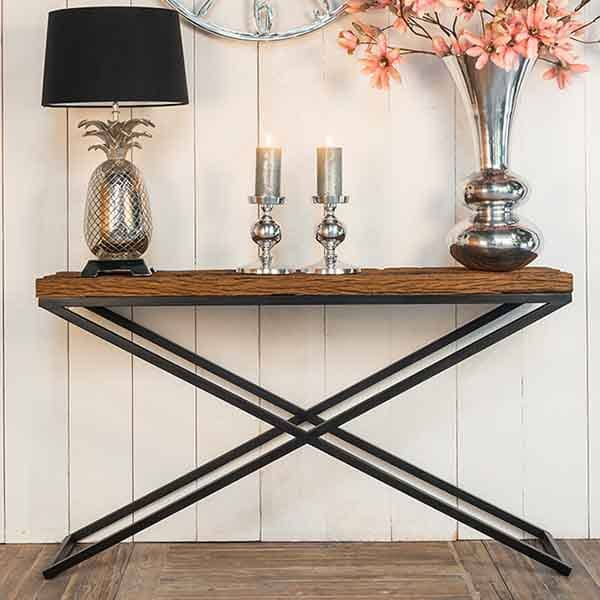 Luxe Kensington Reclaimed Wood Industrial Console Table lifestyle