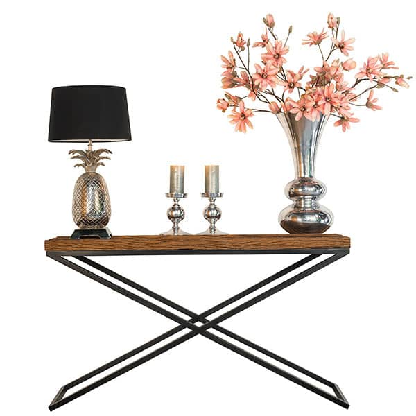 Luxe Kensington Reclaimed Wood Industrial Console Table and Lamp