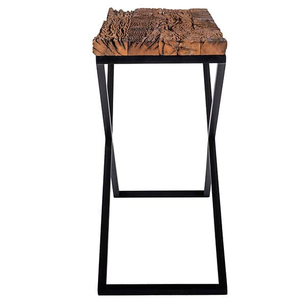 Luxe Kensington Reclaimed Wood Industrial Nest Of Round: Luxe Kensington Reclaimed Wood Industrial Console Table