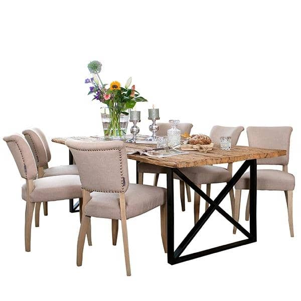 Luxe Kensington Industrial Reclaimed Wood Dining Table with Cream Fabric Chairs