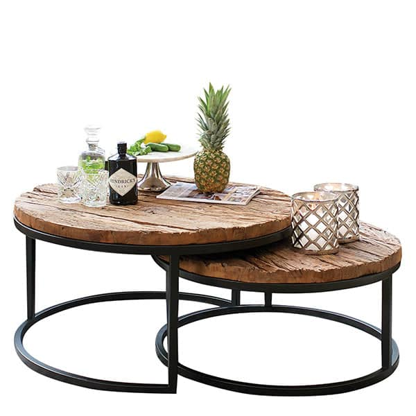 Reclaimed Wood Industrial Coffee Table: Luxe Kensington Reclaimed Wood Industrial Nest Of Round