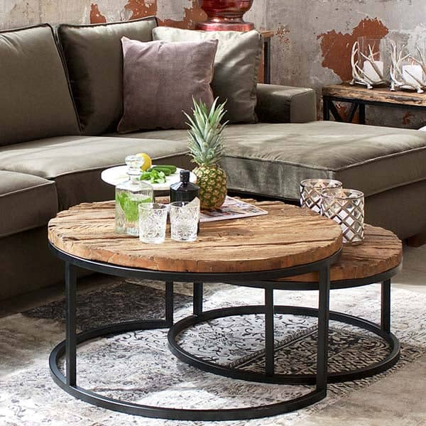 Reclaimed Wood Industrial Round Coffee Table: Reclaimed Wood Nest Of Table