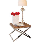 Luxe Kensington Reclaimed Wood Side Table and Lamp Cutout