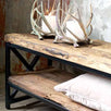 Luxe Kensington Reclaimed Wood Industrial TV Unit Closeup