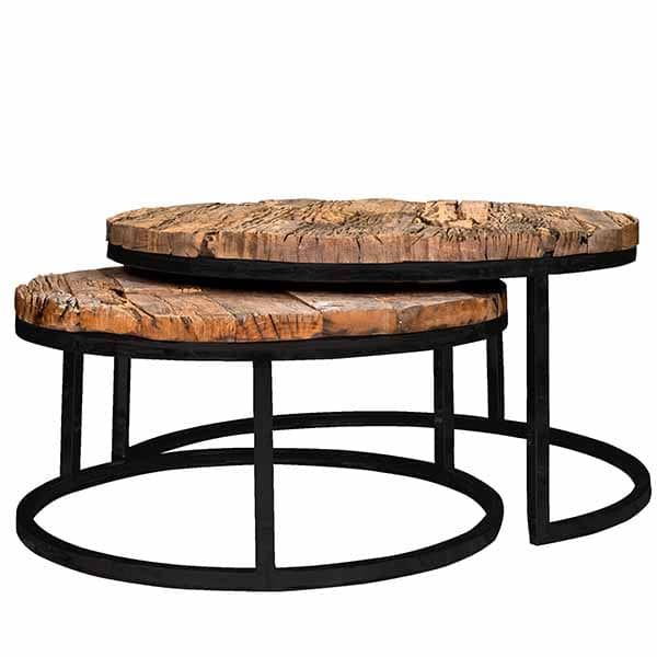 Reclaimed Wood Industrial Round Coffee Table: Luxe Kensington Reclaimed Wood Industrial Nest Of Round