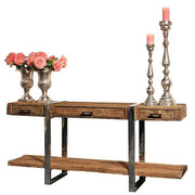 Luxe Kensington Reclaimed Wood Console Table with Drawers Cutout