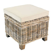Storage Stool Made of Rattan with Cream Cushion