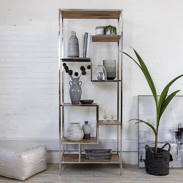 Large Reclaimed Wood Shelving Unit with plant and silver pouffe
