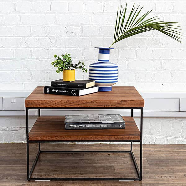 Mitcham Industrial Oak Side Table with steel legs