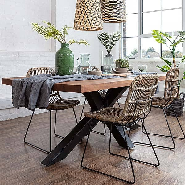 Mitcham Industrial Oak Spider Leg Dining Table and Rattan dining chairs