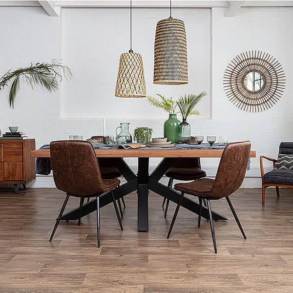 Mitcham Industrial Oak Spider Leg Dining Table and faux leather chairs