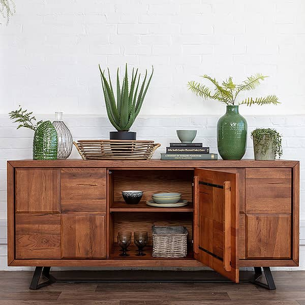 Mitcham Large Oak Squared Industrial Sideboard - Sale