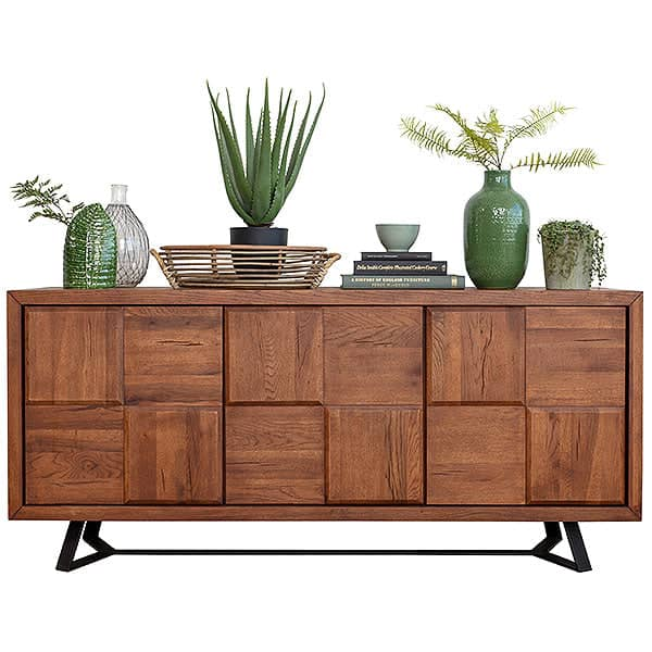 Mitcham Large Oak Squared Industrial Sideboard