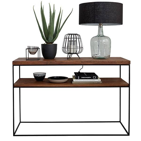 Mitcham Industrial Oak Console with recycled glass lamp