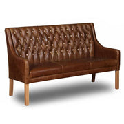 Morton Brown Leather Dining Bench