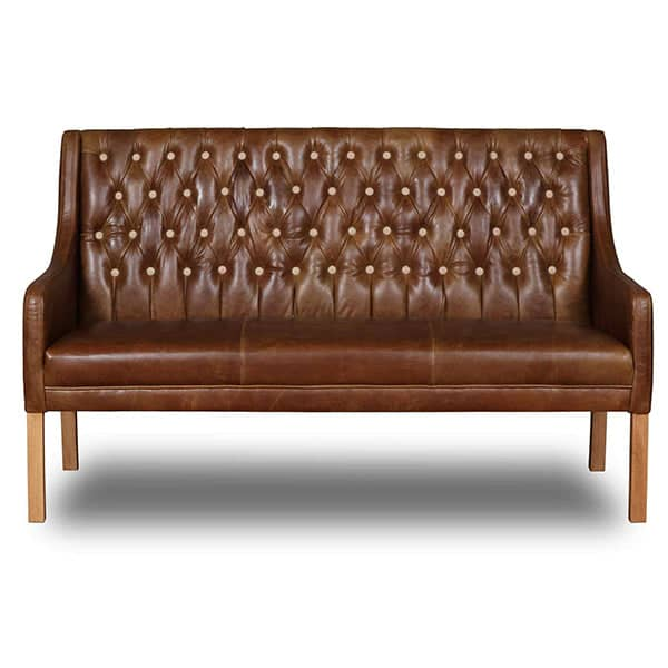 Morton Brown Leather Dining Bench with Back