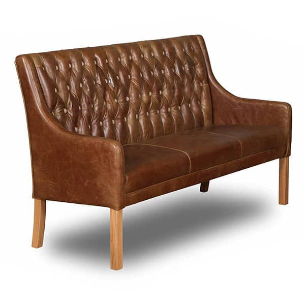 Morton Cerato Brown Leather Dining Bench side view