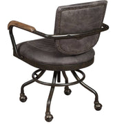back of mustang grey office chair