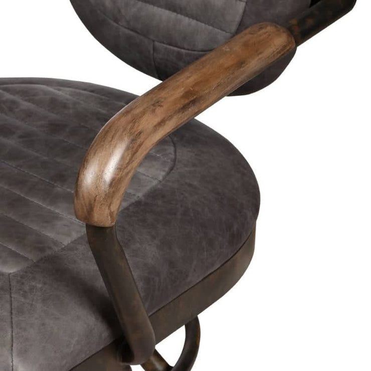 wooden arm of grey mustang office chair