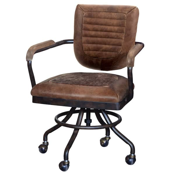Mustang Brown Leather Office Chair Side