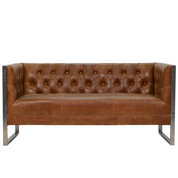 Otto Industrial Chester Club Sofa Two Seater in Brown Leather a steel frame