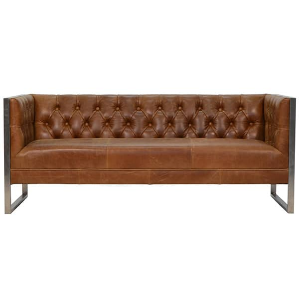 Otto Industrial Chester Club Sofa in Leather
