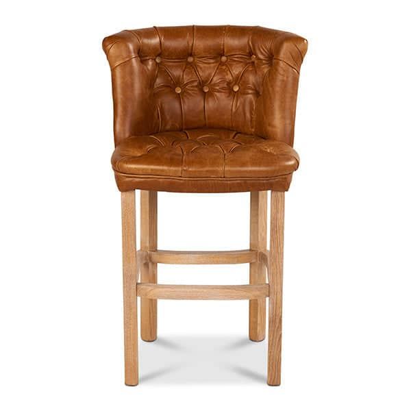 Parker Leather Bar Stool in Brown Cerato Leather - Modish Living