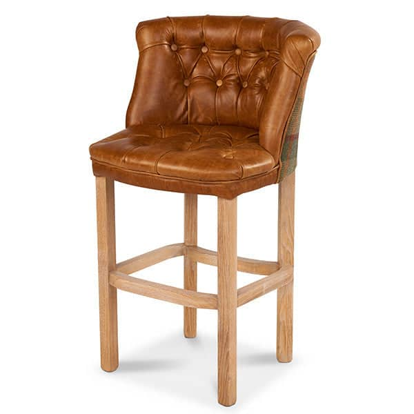 Parker Leather Bar Stool in Brown Cerato Leather and Harris Tweed - Modish Living