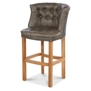 Parker Leather Bar Stool in Grey Cerato Leather and Grey Harris Tweed - Modish Living