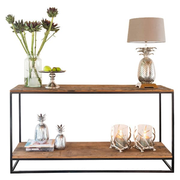 Raffles Reclaimed Wood Industrial Console Table Lifestyle Cutout