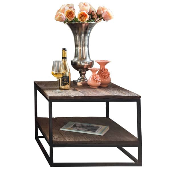 Raffles Reclaimed Wood Industrial Square Side Table Cutout Lifestyle