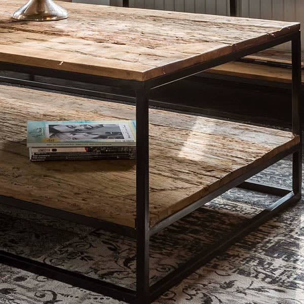 Raffles Reclaimed Wood Industrial Coffee Table with Shelf Close up