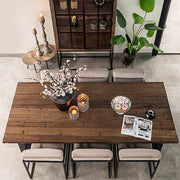 Top View of Raffles Reclaimed Wood Dining Table and Velvet Chairs