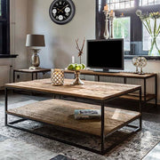 Raffles Reclaimed Wood Industrial Coffee Table with Shelf Side