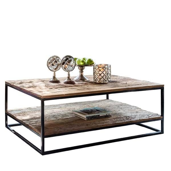 Raffles Reclaimed Wood Industrial Coffee Table with Shelf Lifestyle Cutout